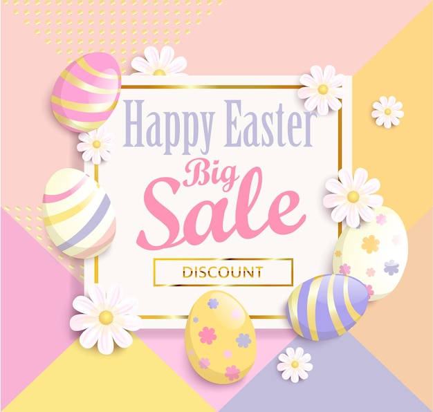 Happy easter big sale banner, template with beautiful colorful spring flowers and eggs. geometric background, dots pattern. vector illustration.