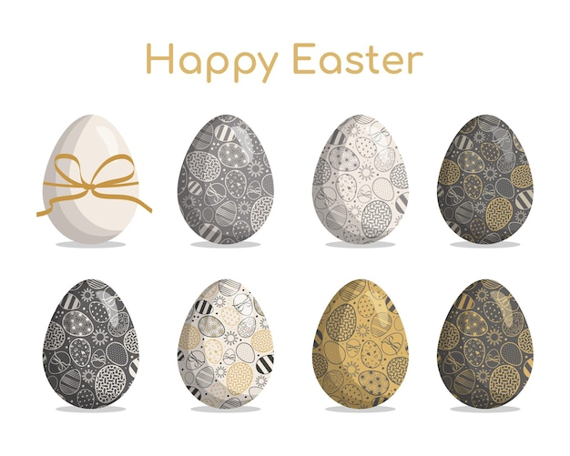 Happy easter big set of easter eggs in gold colours with different textures patterns and festive dec...