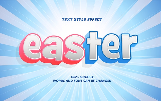 Happy easter bold text style effect