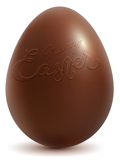 Happy easter. brown chocolate egg isolated
