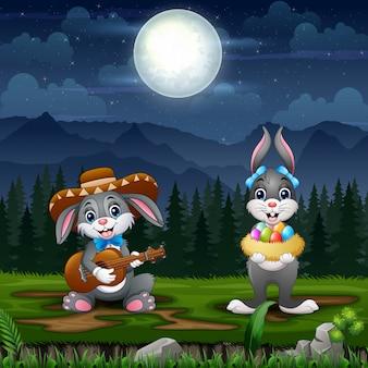 イースターの前夜にハッピーイースターのウサギ