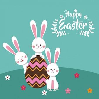 행복 한 부활절 토끼 초콜릿 달걀 꽃