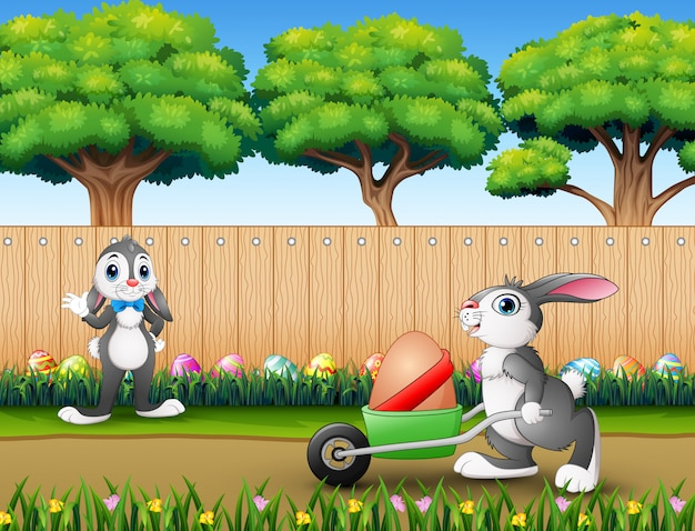 Happy easter bunnies on the nature