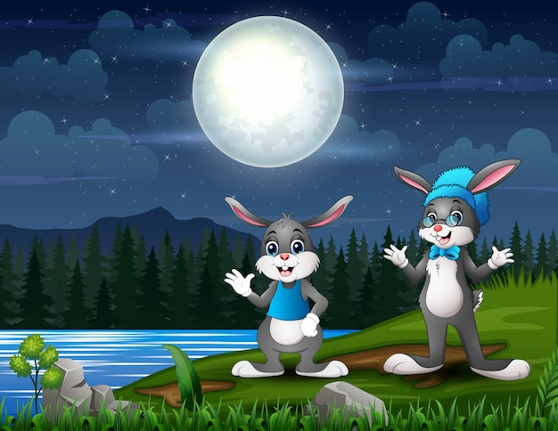 Happy easter bunnies at night landscape