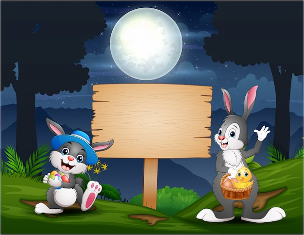 Happy easter bunnies with wooden blank sign in the forest