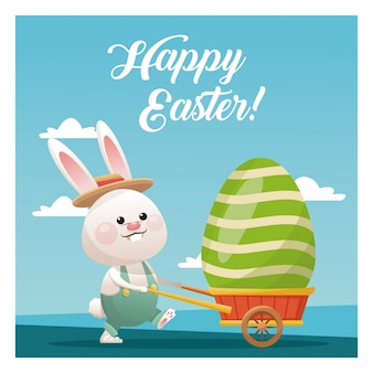 Счастливый пасхальный кролик с яйцом голубое небо