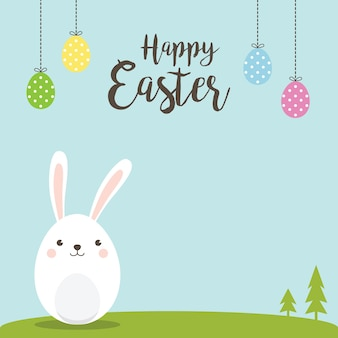 Happy easter bunny for easter greeting card, invitation.