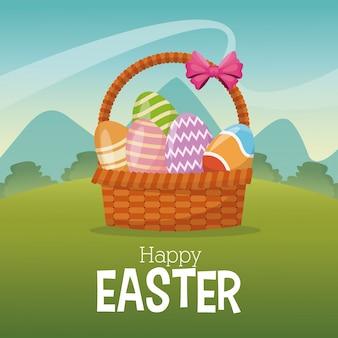 행복 한 부활절 카드 바구니 계란 풍경