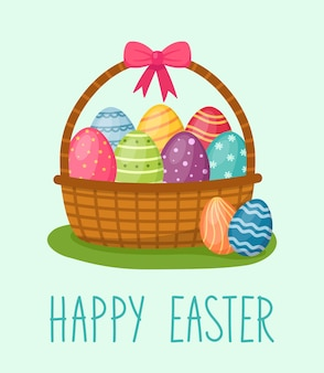 Happy easter card. basket with eggs, handwriting text, vector illustration
