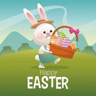 바구니 계란을 들고 행복 한 부활절 카드 토끼