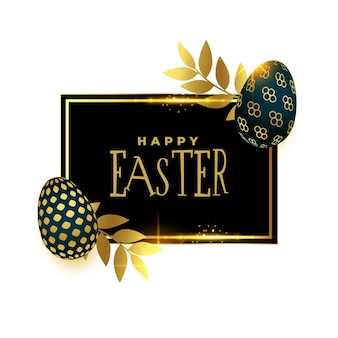 Happy easter card design in golden and black style