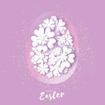 Happy easter card. paper cut egg, flower.