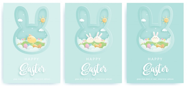 Happy easter card set with cute bunnies.