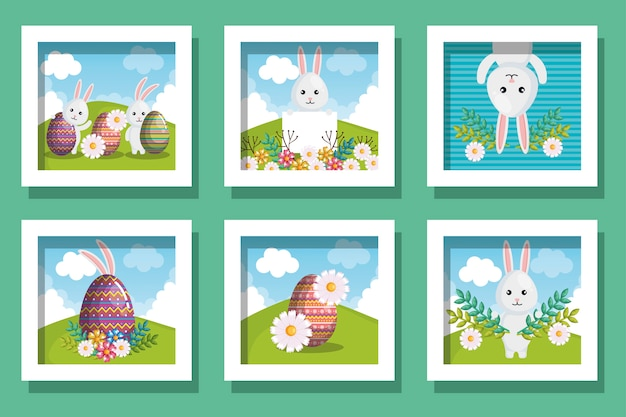 Happy easter card set