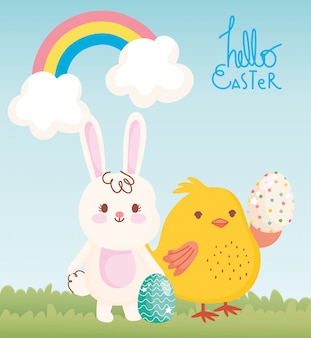 Happy easter card, white bunny chicken with eggs rainbow clouds grass