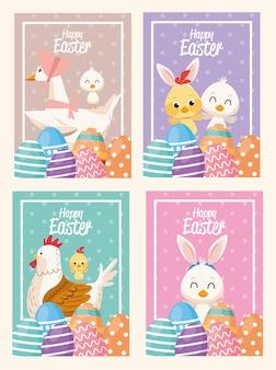 Счастливая пасхальная открытка с нарисованными сценами с животными и яйцами