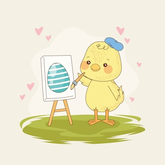 赤ちゃんひよこ絵画卵とハッピーイースターカード