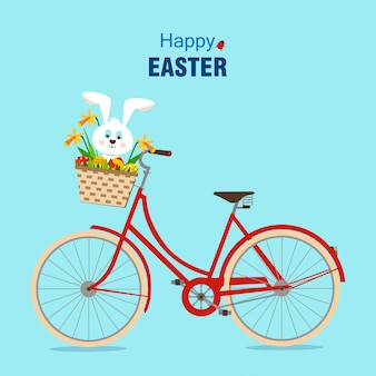 Happy easter card with the bike.