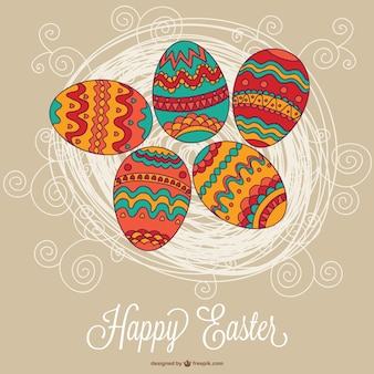 Happy easter card with boho eggs