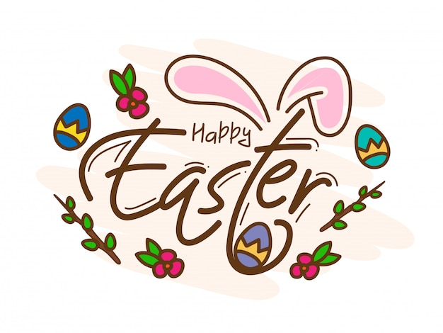 Happy easter card with bunny ear, printed eggs and floral on white
