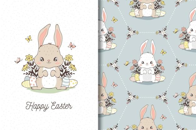 Счастливая пасхальная открытка с иллюстрацией кролика в стиле рисованной. пасхальный бесшовный образец