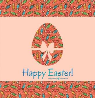 사탕 배경으로 행복 한 부활절 카드