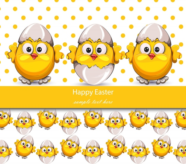 Happy easter card with cracked eggs