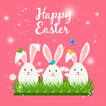 Happy easter card with cute white rabbits or bunny eggs shaped and spring flowers. vector illustration
