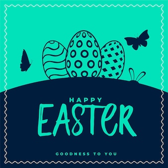 Happy easter card with eggs and butterfly design