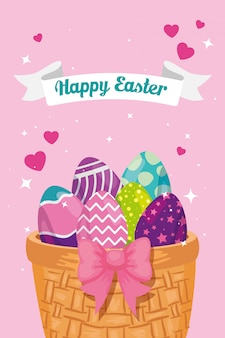 Happy easter card with eggs decorated in basket wicker vector illustration design