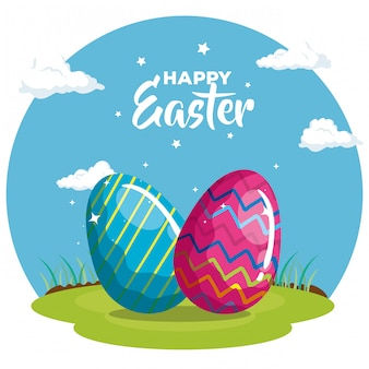 Happy easter card with eggs decorated in grass vector illustration design