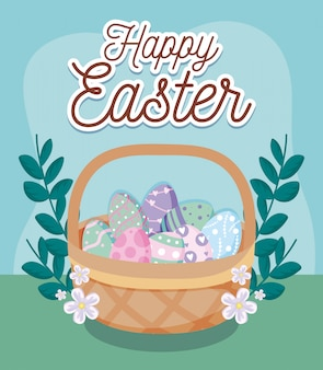 Happy easter card with eggs inside basket