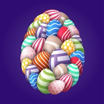 卵とハッピーイースターカード。多くの美しいマルチカラーのリアルな卵は、大きな卵の形で配置されています。紫の背景にイースターのイラスト。