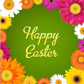 Happy easter card with gerbers with gradient mesh illustration