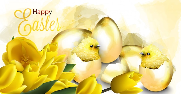 Happy easter card with golden eggs