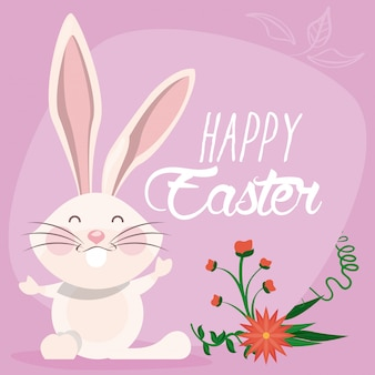 Happy easter card with lettering and rabbit