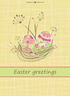 Happy easter card with a nest full of eggs