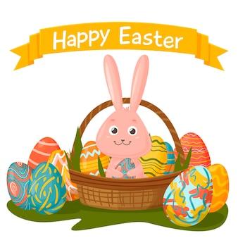 ピンクのイースターバニーとカラフルな卵のバスケットが付いたハッピーイースターカード。手描き漫画。