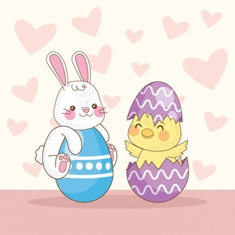 ウサギとひよこと卵が描かれたハッピーイースターカード
