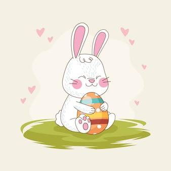 ウサギと卵を描いたハッピーイースターカード