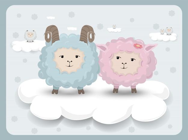 羊のカップルとハッピーイースターカード