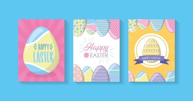 Happy easter cards with eggs, pastel colors