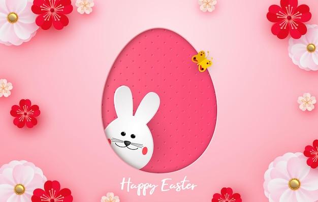 Счастливой пасхи. мультяшный пасхальный кролик, глядя на розовый рельефный фон. шаблон для поздравительной открытки. стиль вырезки из бумаги. вектор