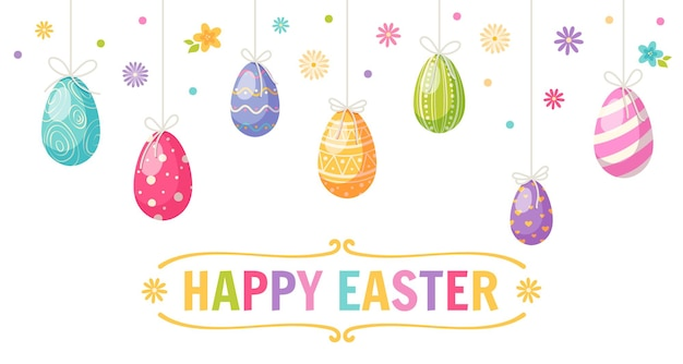 Happy easter cartoon greeting card with colored eggs and flowers