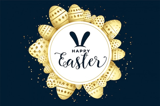 Happy easter celebration background with eggs frame