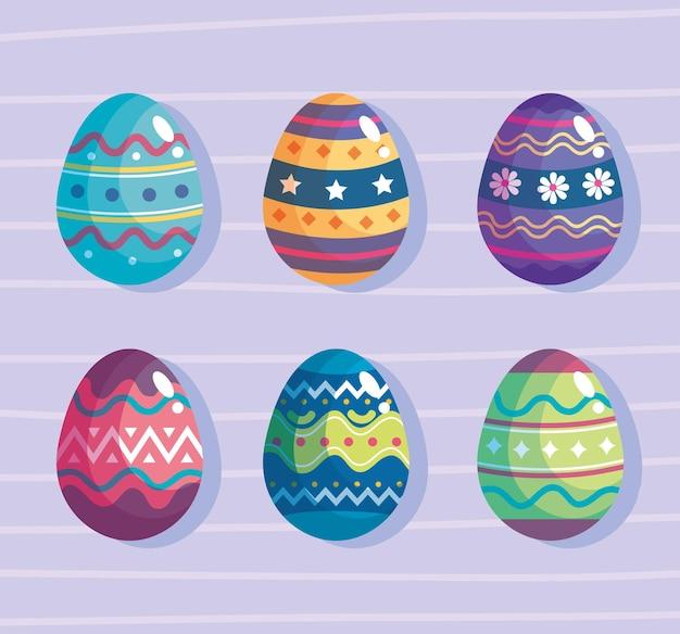 Счастливой пасхи набор из шести яиц дизайн иллюстрации