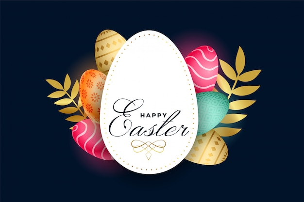 Happy easter celebration card with colorful eggs