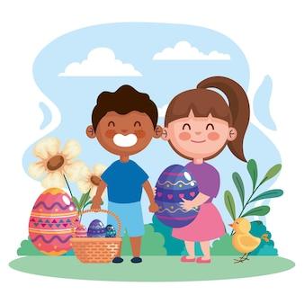 卵と異人種間の小さな子供たちのカップルのイラストデザインとハッピーイースターのお祝いカード