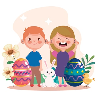 Happy easter celebration card with eggs and little kids couple illustration design