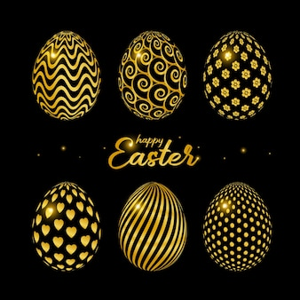 Happy easter celebration card with golden decorated easter eggs